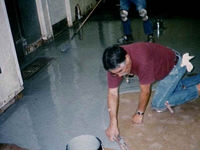 putting down an epoxy floor